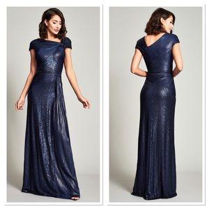 NWT Tadashi Shoji Midnight Parma Draped Sequin Gown Medium